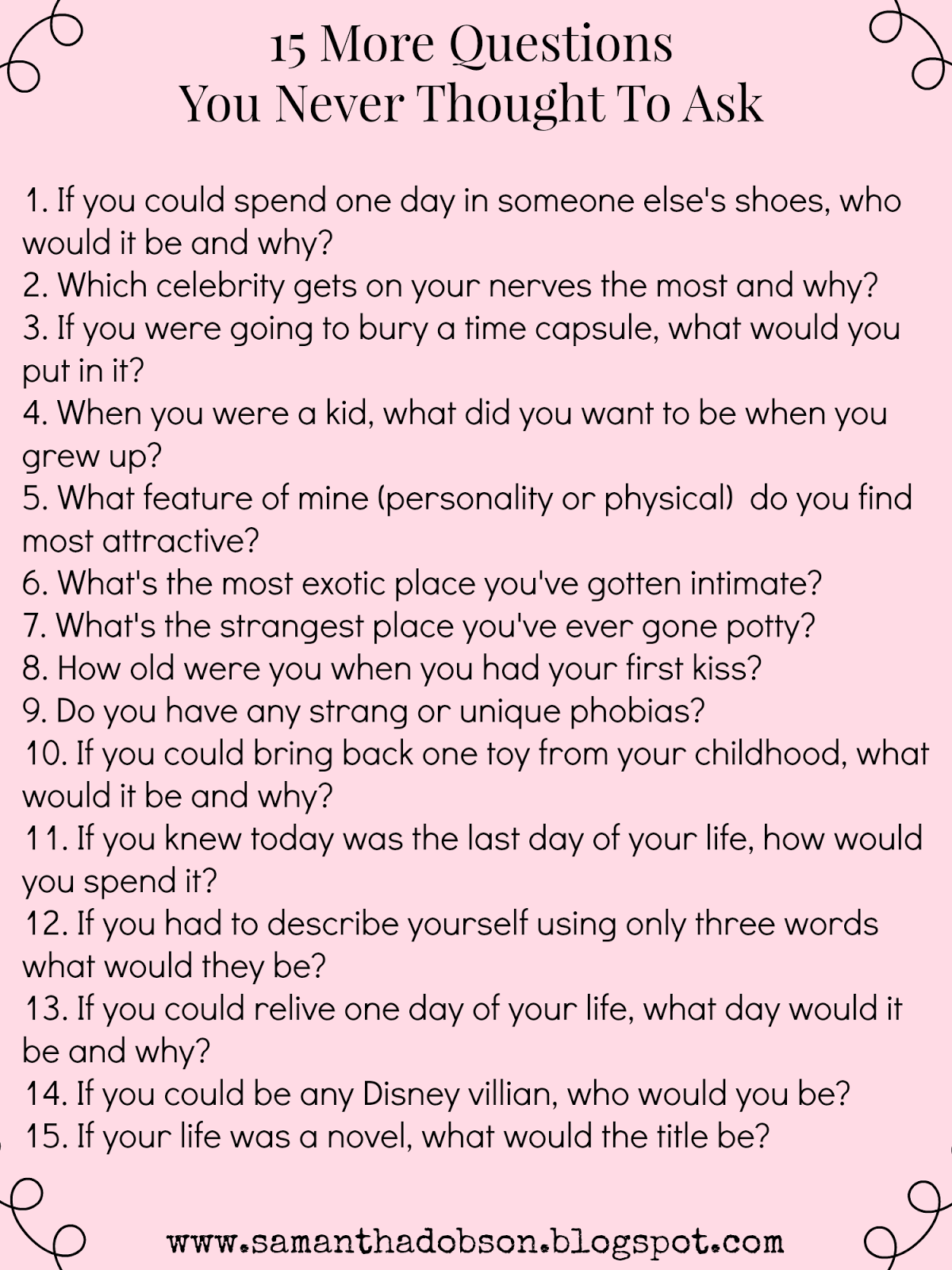 20 questions to ask a girlfriend