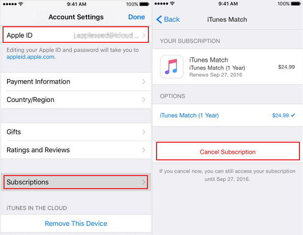 Cancel match subscription on iphone