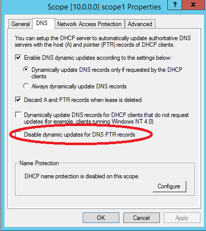 Dhcp not updating a records in dns