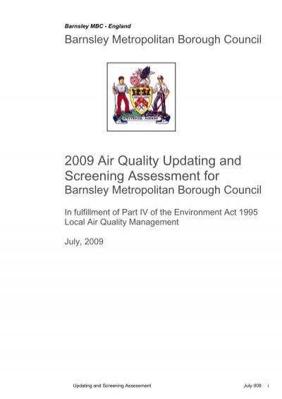 Air quality updating and screening assessment