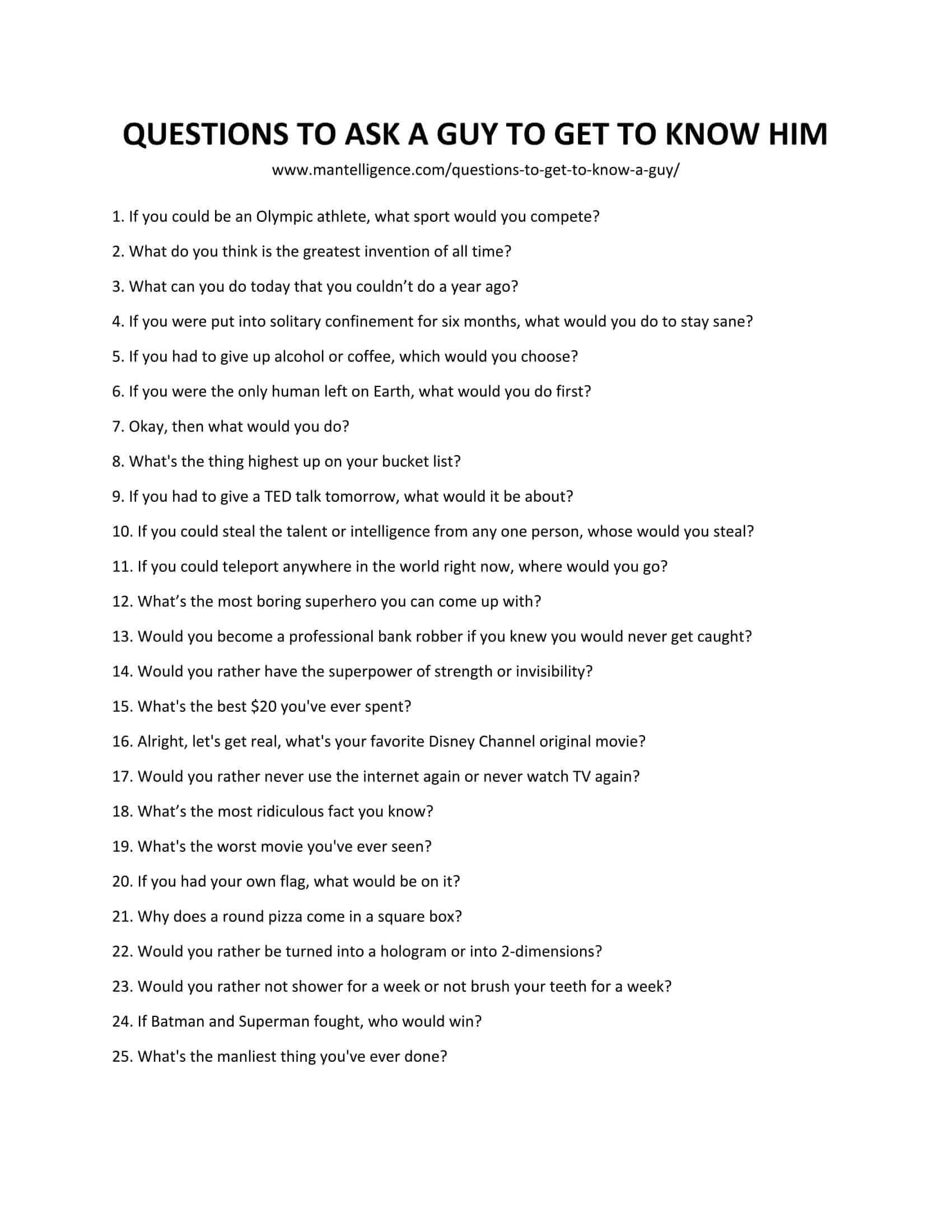 Questions to ask guys to get to know them