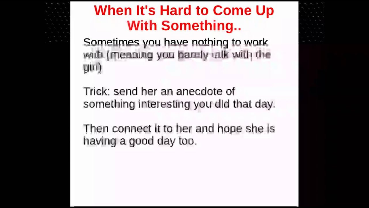 Something interesting to talk about with a girl