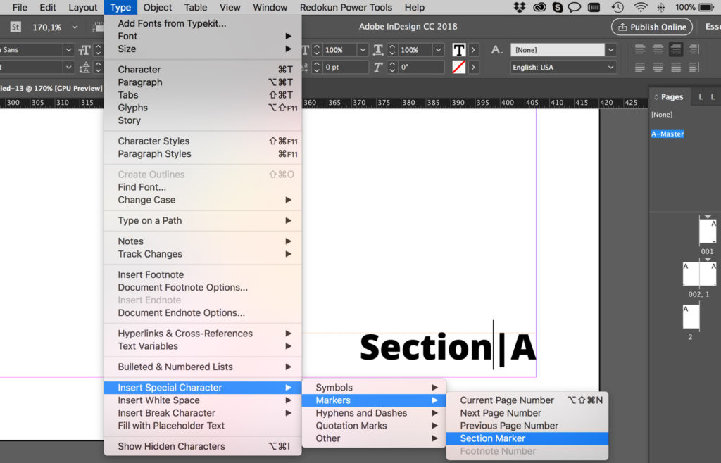 Indesign book page numbers not updating