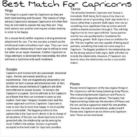 Best matches for capricorn