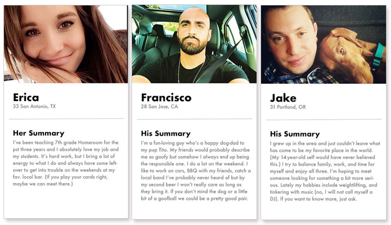Good dating website profile examples