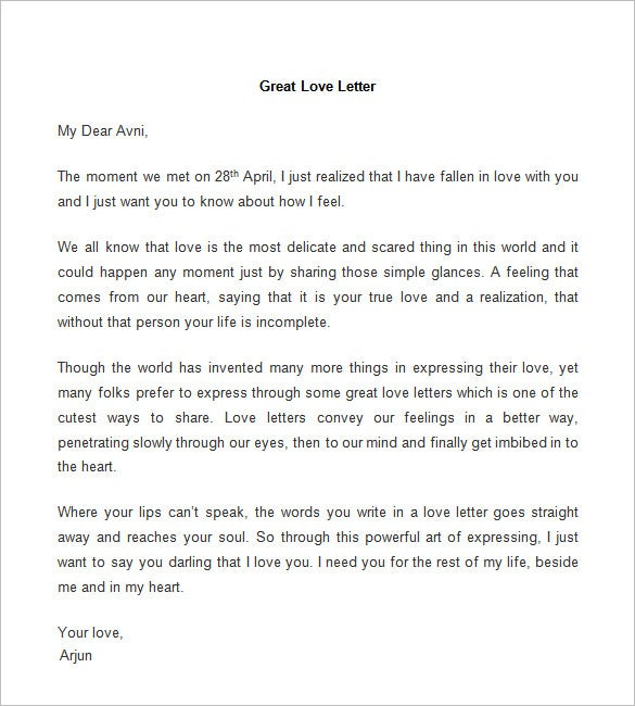 Letters saying i love you